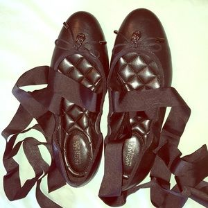 Michael Kors Black Leather Ballet Flats